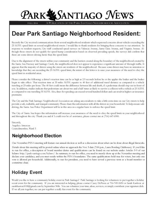 Park Santiago Fall Newsletter 2014